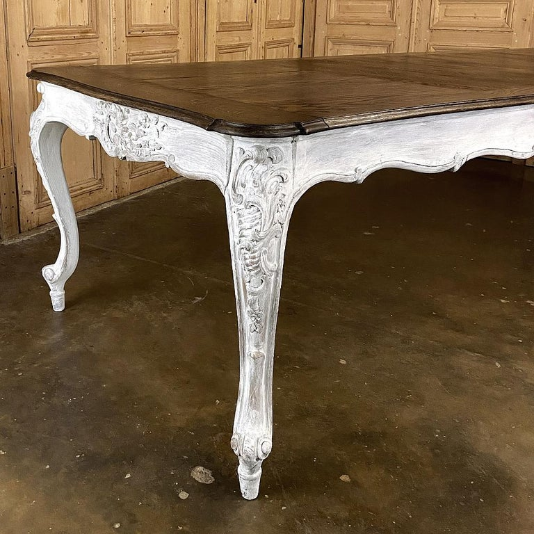 Oak Antique Country French Louis XV Carved and Painted Banquet Table For Sale