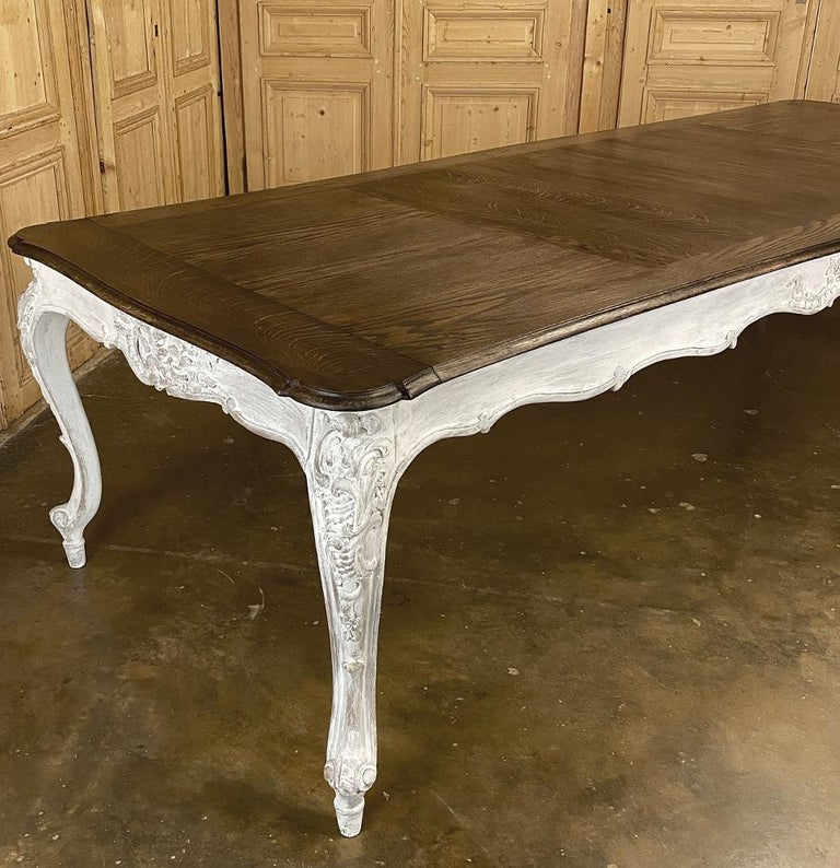 Antique Country French Louis XV Carved and Painted Banquet Table For Sale 3