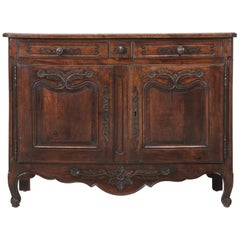 Antique Country French Louis XV Fruit Wood Two-Door Buffet, circa 1700s