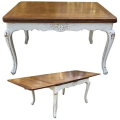 Antique Country French Louis XV Painted Draw Leaf Dining Table