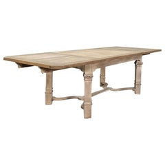 Antique Country French Neoclassical Stripped Oak Dining Table with 2 Leaves