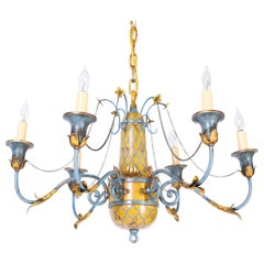 Antique Country French Painted Chandelier
