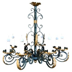 Antique Country French Painted Wrought Iron Chandelier