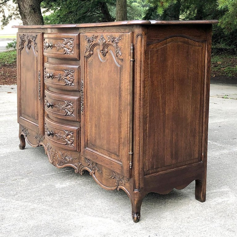 Hand-Carved Antique Country French Provincial Buffet For Sale