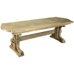 Antique Country French Provincial Stripped Oak Trestle Table