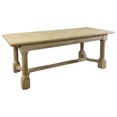 Antique Country French Rustic Stripped Oak Dining Table