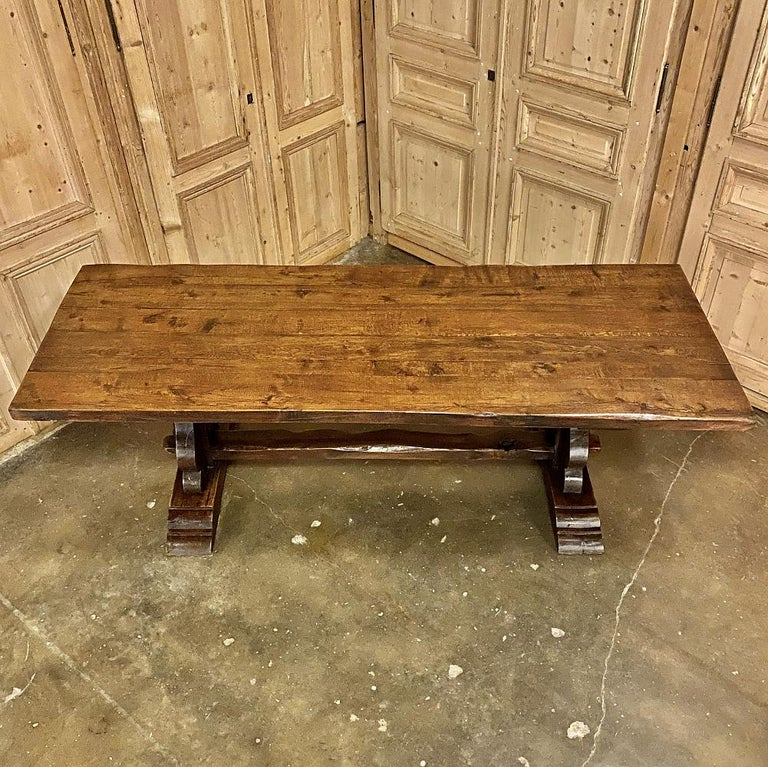 Antique Country French Rustic Trestle Dining Table For Sale 4