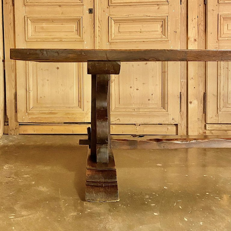 Antique Country French Rustic Trestle Dining Table For Sale 5