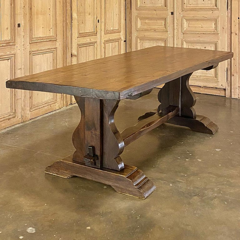 Hand-Crafted Antique Country French Rustic Trestle Dining Table For Sale