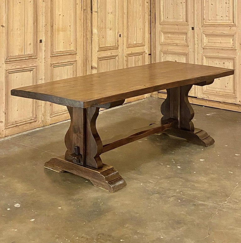 Antique Country French Rustic Trestle Dining Table In Good Condition For Sale In Dallas, TX