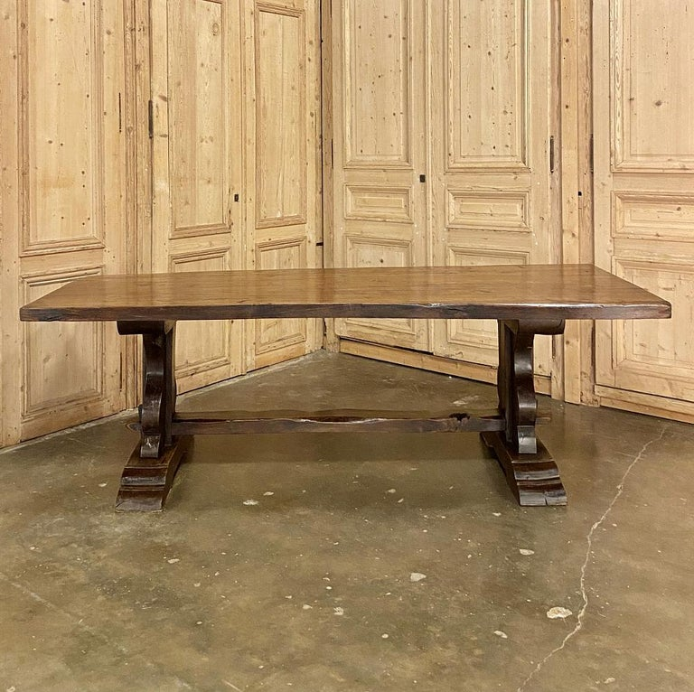 20th Century Antique Country French Rustic Trestle Dining Table For Sale