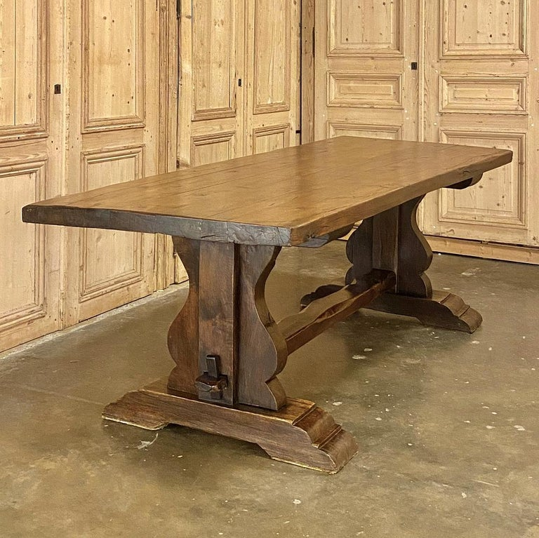 Oak Antique Country French Rustic Trestle Dining Table For Sale