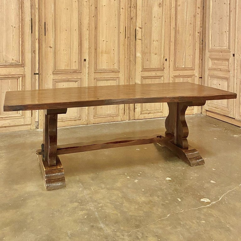 Antique Country French Rustic Trestle Dining Table For Sale 1