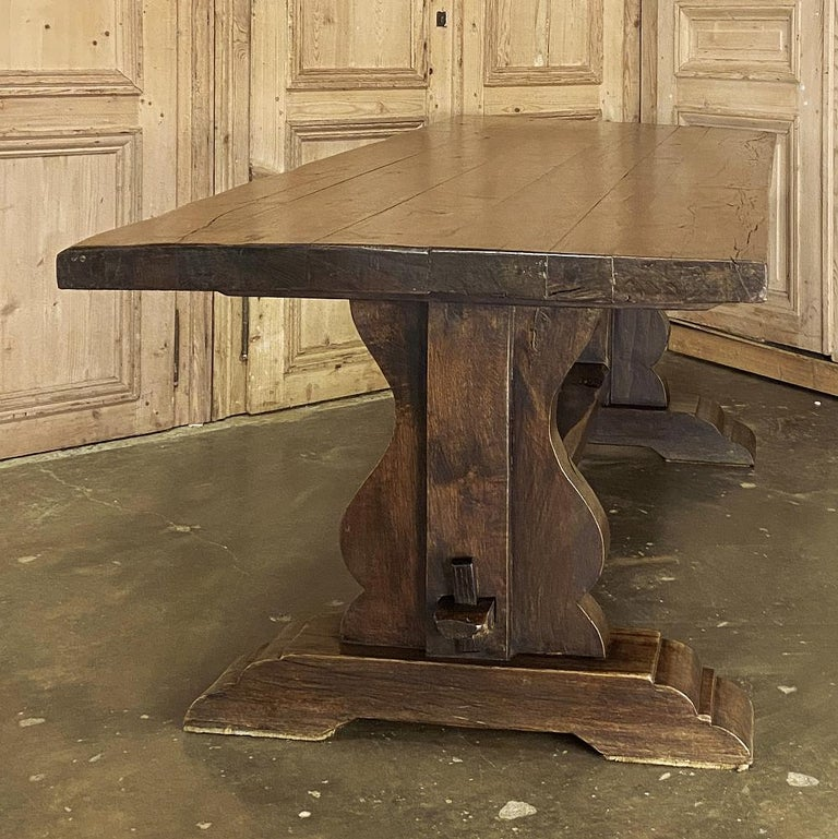 Antique Country French Rustic Trestle Dining Table For Sale 2