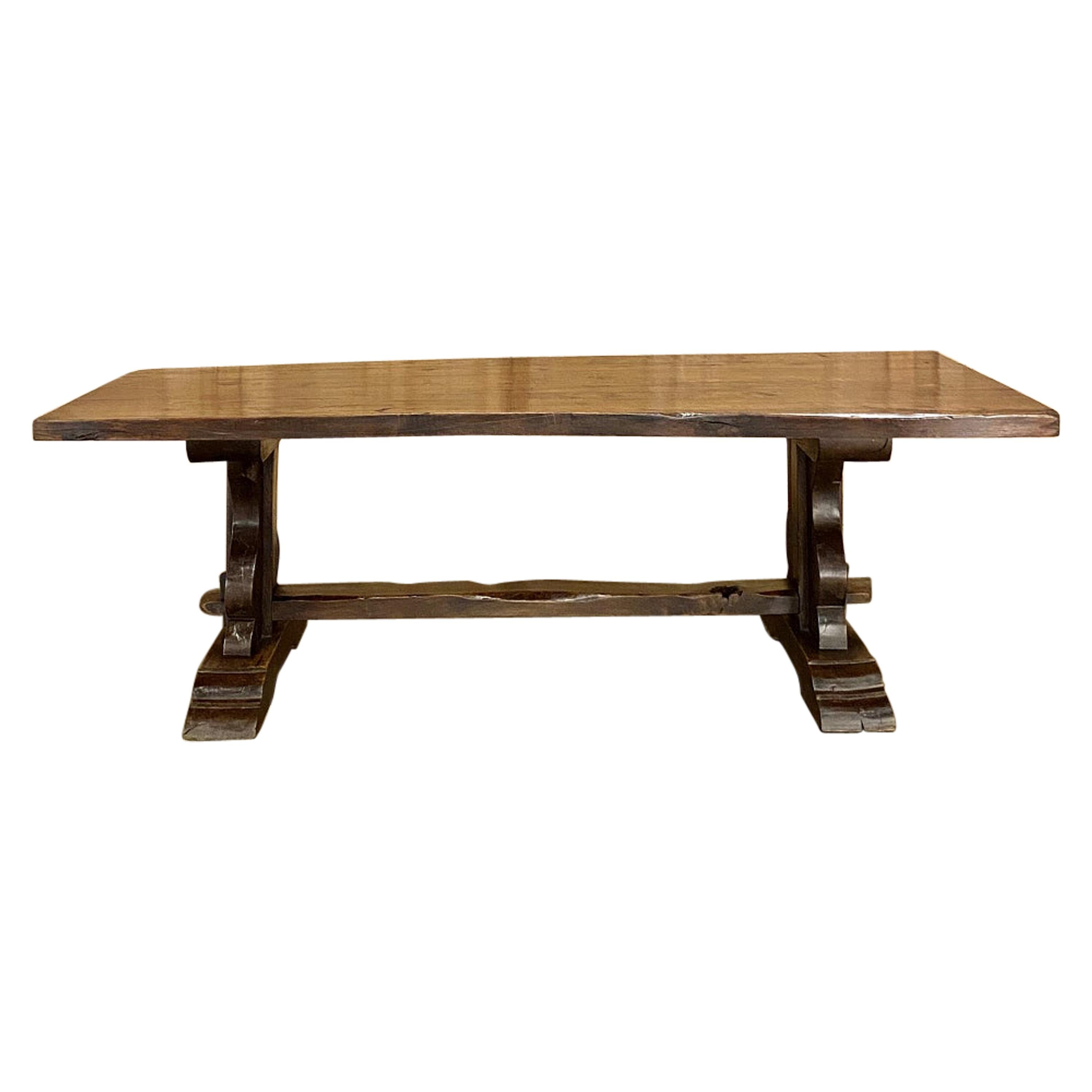 Antique Country French Rustic Trestle Dining Table