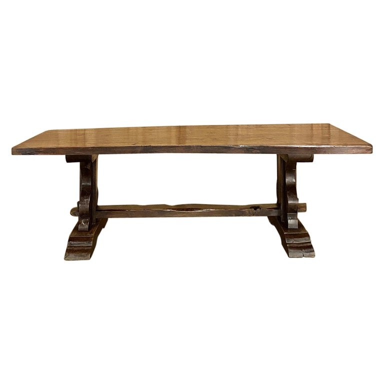 Antique Country French Rustic Trestle Dining Table For Sale