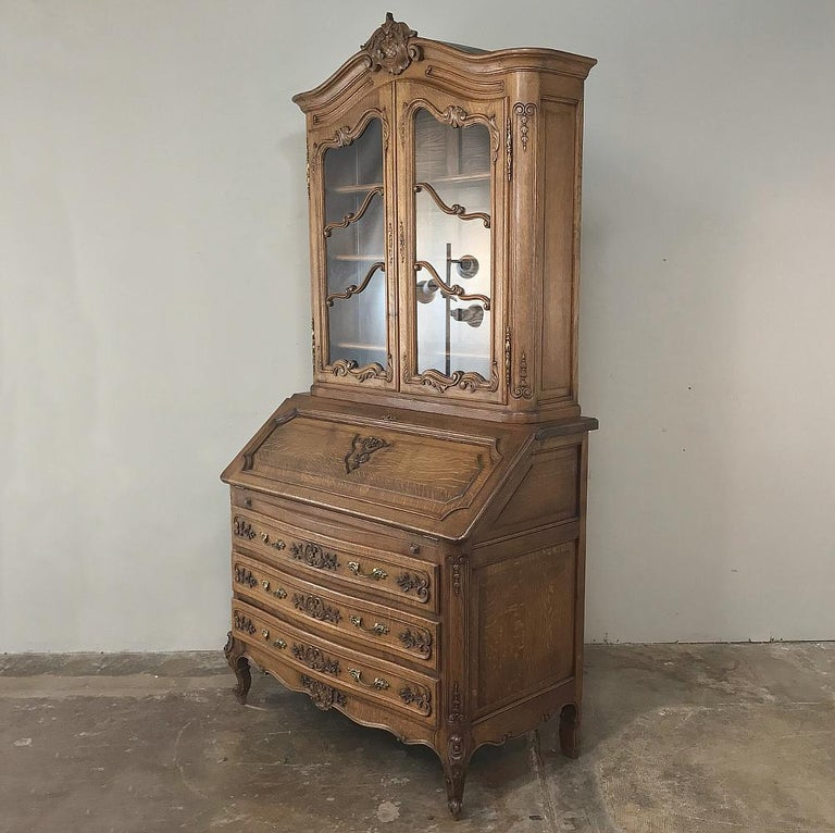 Régence Antique Country French Secretary, Bookcase For Sale