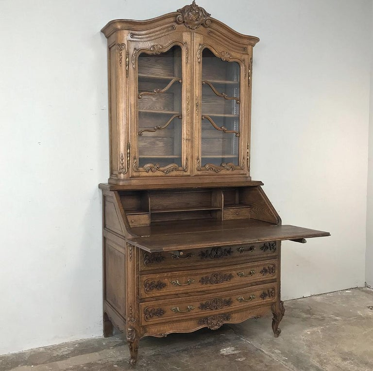 Hand-Carved Antique Country French Secretary, Bookcase For Sale