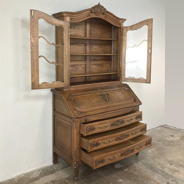 Antique Country French Secretary, Bookcase For Sale 2