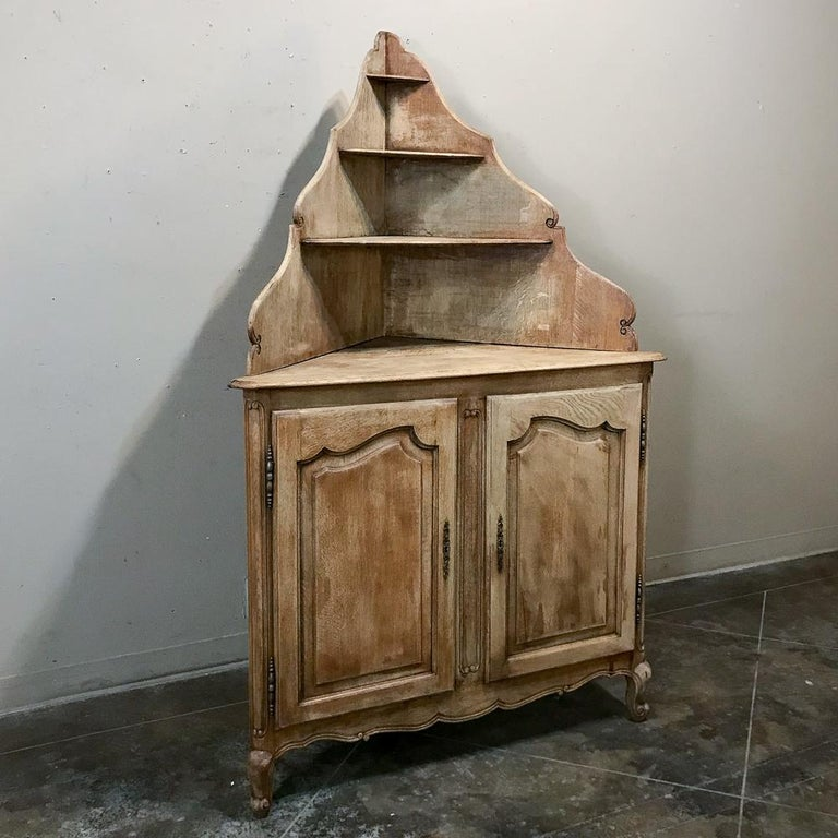 French Provincial Antique Country French Stripped Corner Cabinet For Sale