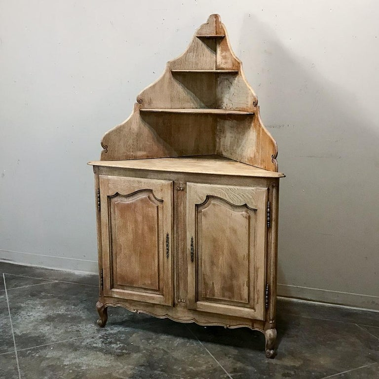Hand-Crafted Antique Country French Stripped Corner Cabinet For Sale