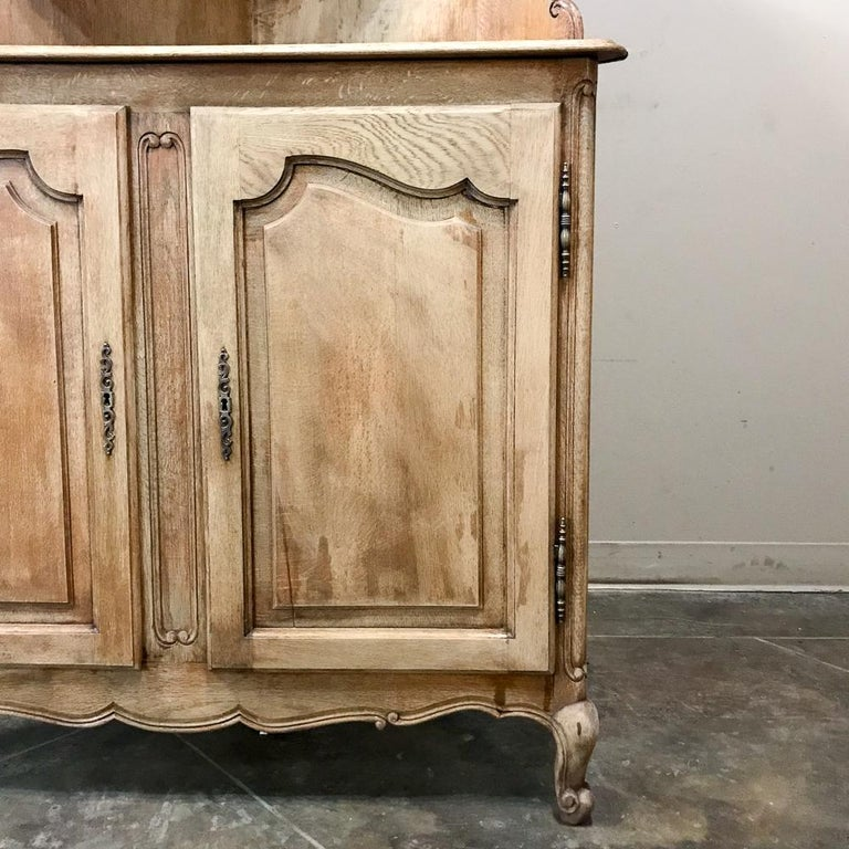 Oak Antique Country French Stripped Corner Cabinet For Sale