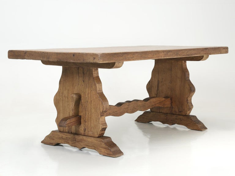 Antique Country French Trestle Dining or Kitchen Table, Completely Restored  For Sale 9