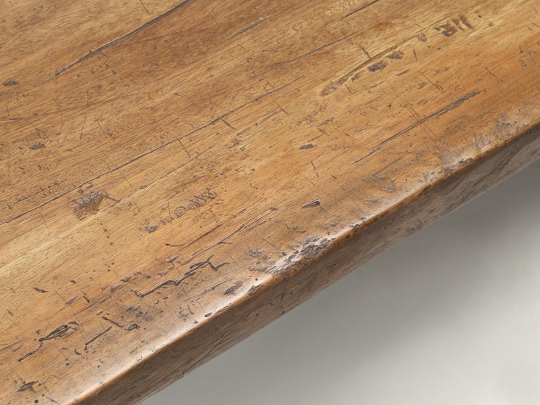 Antique Country French Trestle Dining or Kitchen Table, Completely Restored  In Good Condition For Sale In Chicago, IL