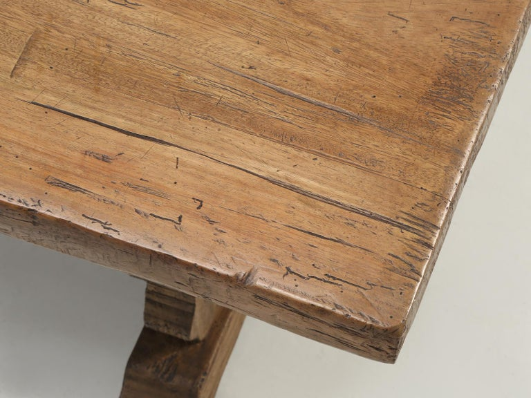 Hardwood Antique Country French Trestle Dining or Kitchen Table, Completely Restored  For Sale