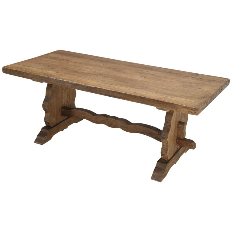 Antique Country French Trestle Dining or Kitchen Table, Completely Restored  For Sale
