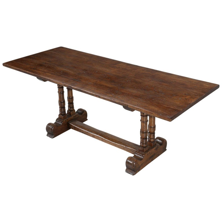 Antique Country French Trestle Dining Table in Solid Oak, circa 1700s For Sale
