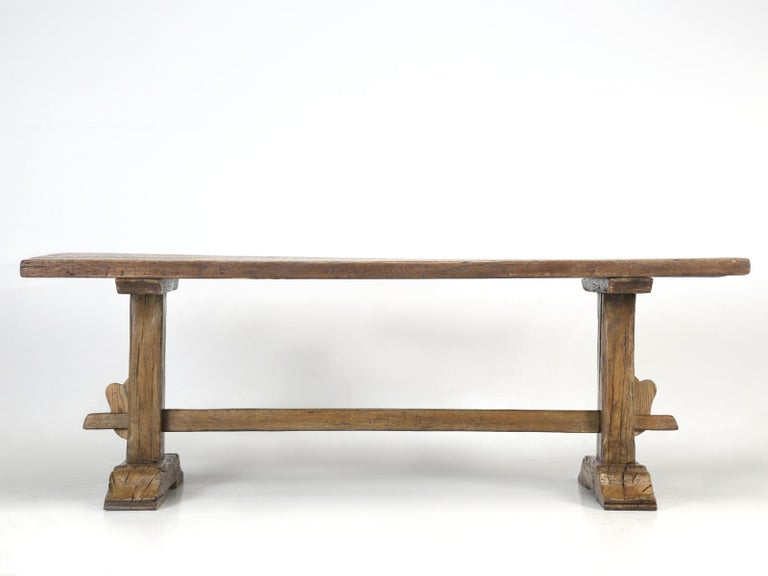 Antique Country French Trestle Oak Dining, Farm Table or Kitchen Table Restored For Sale 6