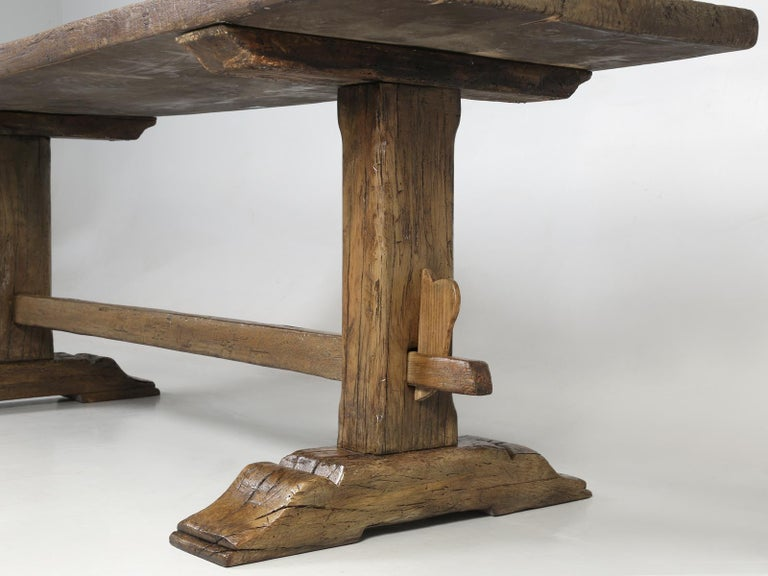 Antique Country French Trestle Oak Dining, Farm Table or Kitchen Table Restored For Sale 7