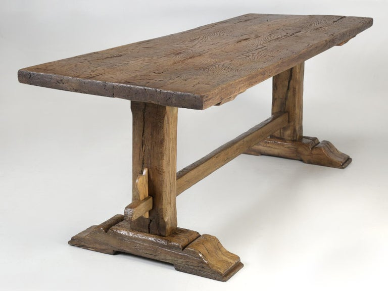 Antique Country French Trestle Oak Dining, Farm Table or Kitchen Table Restored For Sale 12