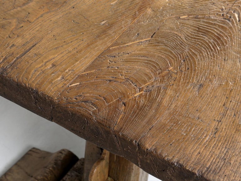 Antique Country French Trestle Oak Dining, Farm Table or Kitchen Table Restored For Sale 3