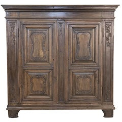 Antique Country French Walnut Armoire, Very Shallow