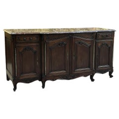 Antique Country French Walnut Marble-Top Step-Front Buffet