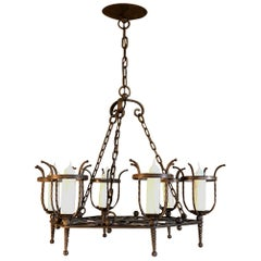 Antique Country French Wrought Iron Chandelier