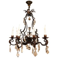 Antique Country French Wrought Iron and Crystal Chandelier