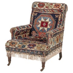 Antique Country House Turkish Carpet Kilim/Kelim Gothic Revival Armchair