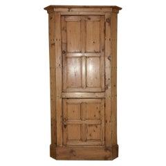 Antique Country Pine Corner Cabinet
