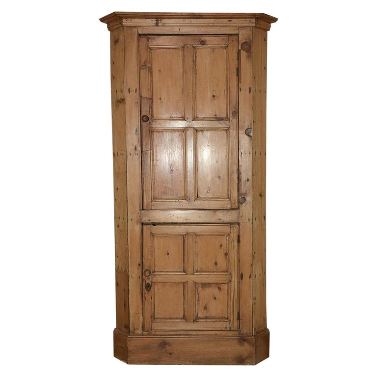 Antique Country Pine Corner Cabinet For
