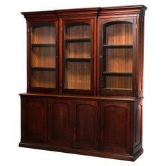 Antique Country Store Two-Piece Mahogany Cabinet, Circa 1900