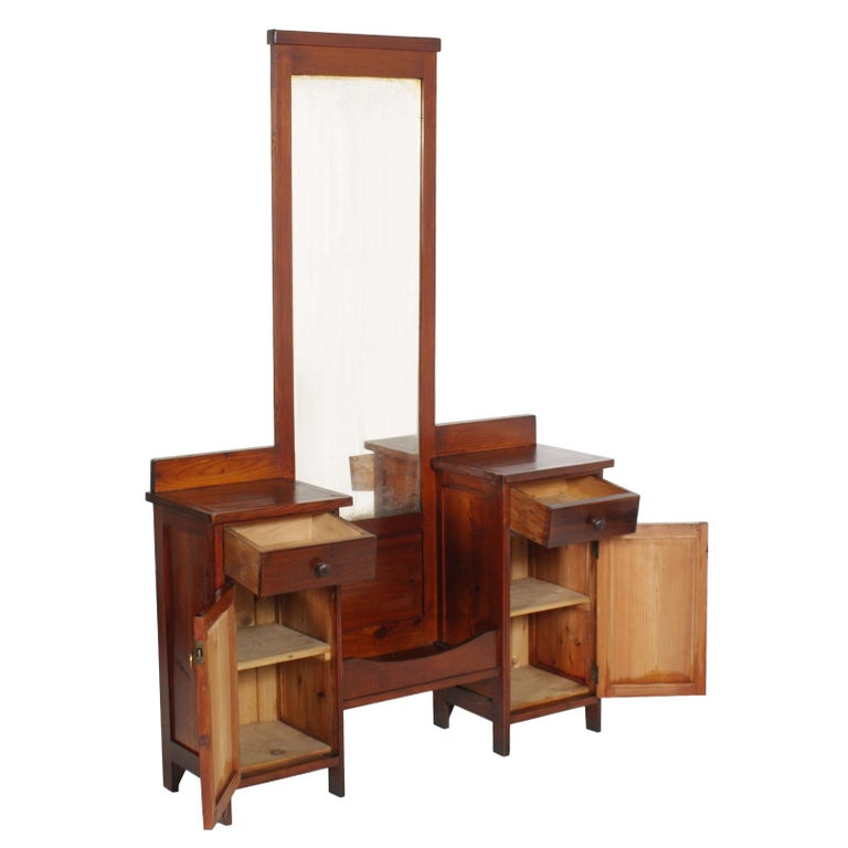 Antique rustic country vanity, entry mirror with cabinets, all solid pine restored and wax polished   Measures cm: H 175, W 112, D 32.