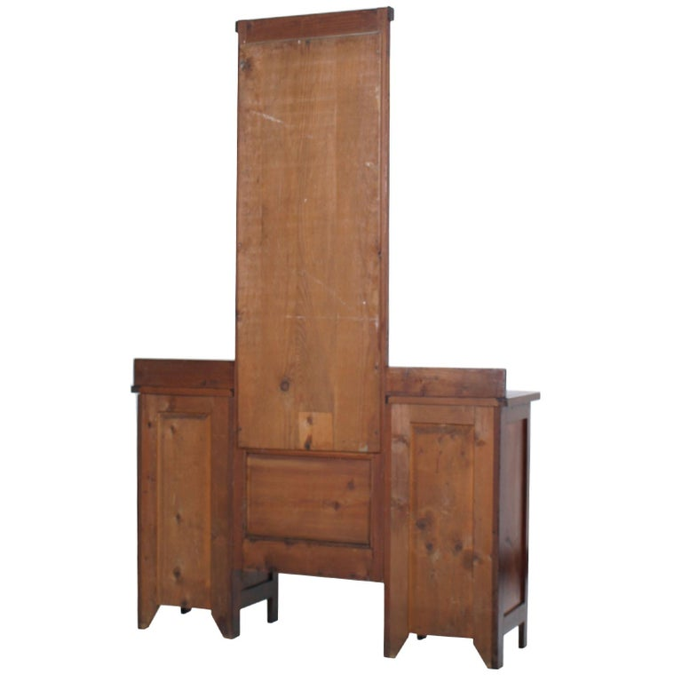 19th Century Antique Country Vanity, Entry Mirror with Cabinets, Pine Wax Polished For Sale