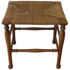 Antique Country Wooden Stool with Woven Seat in Birch, 1900s