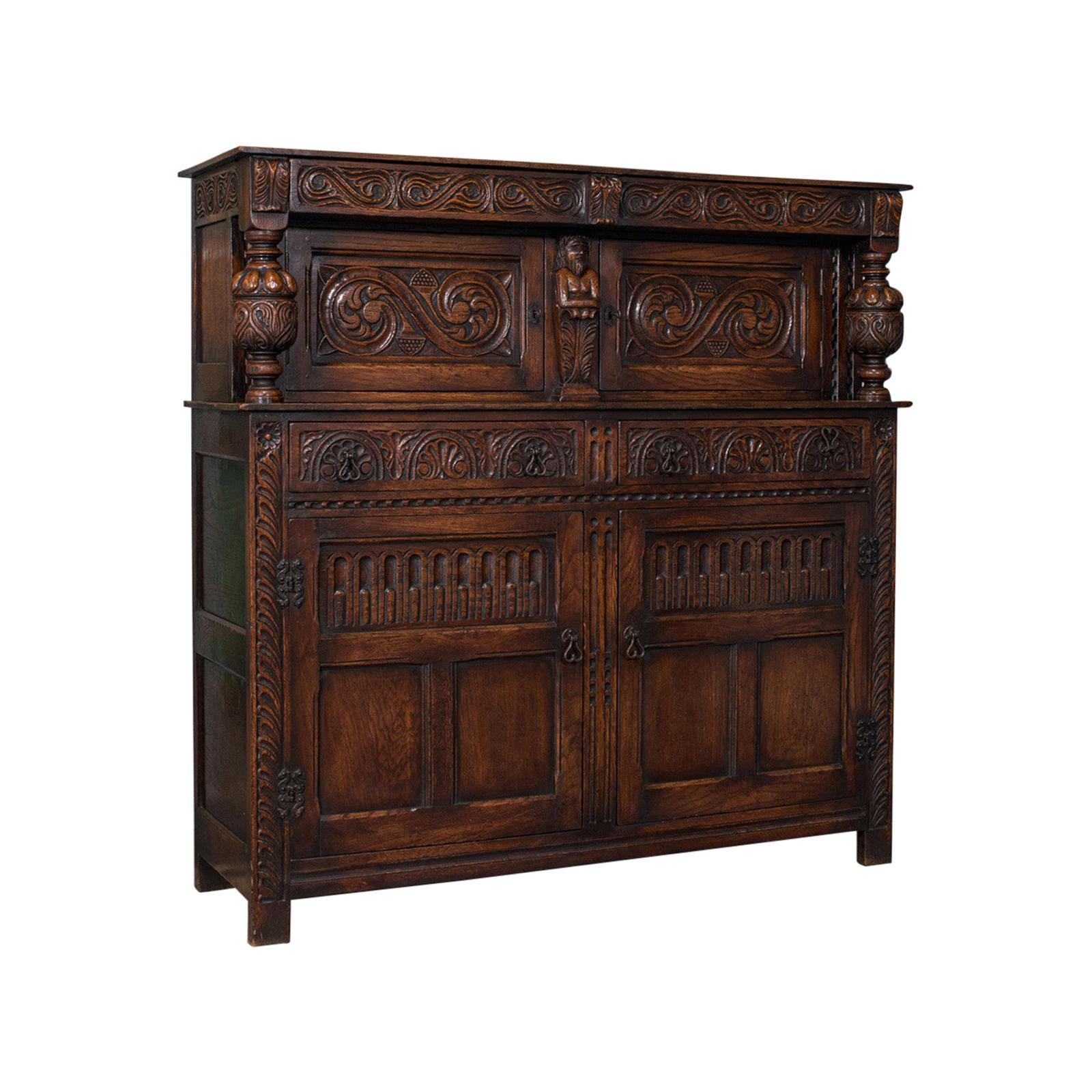 Antique Court Cabinet, English, Oak, Sideboard, Credenza, Jacobean Revival, 1890