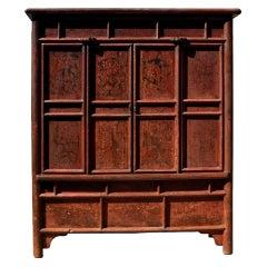 Antique Crackle Rustic Round Corner Cabinet