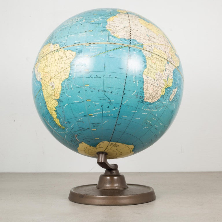 Antique Cram's Terrestrial Globe, circa Pre 1948 In Good Condition In San Francisco, CA