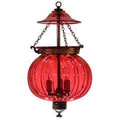 Antique Cranberry Glass Melon Bell Jar Lantern